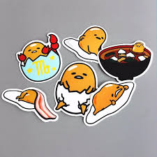 6pcs Lot Novelty Gudetama Lazy Egg Cartoon Funny Sticker For Car Laptop Bicycle Luggage Waterproof Decal Stickers Funny Stickers Anime Merchandise Sticker Set