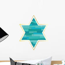Turquoise Jewish Star Wall Decal Wallmonkeys Com