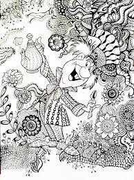 Line Art Mad Hatter Alice In Wonderland Zentangle Coloring Pages