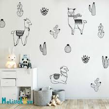 Alpacas And Cacti Wall Decals Kids Room Diy Stickers For Baby Room Removable Wall Sticker Llama Cute Animal Decoration Jw302 Wall Stickers Aliexpress