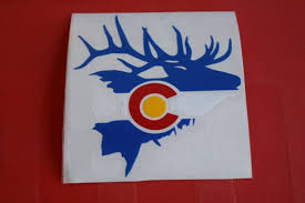 Colorado Flag Elk Sticker Car Window Decal Die Cut Label Etsy