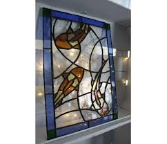 three koi fish stained glass panel for
