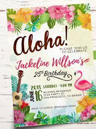 Tarjeta De Invitacion De Fiesta De Cumpleanos De Aloha Invitacion