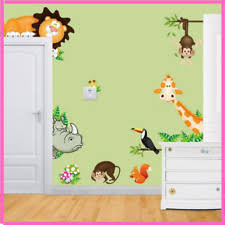 Wall Sticker Jungle Animals Trees Forest Nursery Kids Bedroom Background Decors For Sale Online Ebay