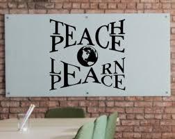 Teach Peace Decal Etsy