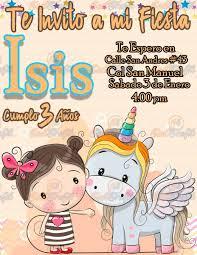 Invitacion De Cumpleanos Infantil Unicornio Y Nina 80 00 En