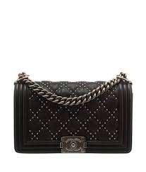 black studded quilted leather shoulder bag