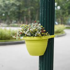 Green Garden Hanging Flower Pots Railing Planter Hanger Basked Succulent Planter Herb Outdoor Planters Fence Hanging Balcony Garden Patio Planter Home Decor Set Of 3 Rail Planters
