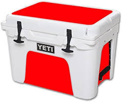 Amazon Com Mightyskins Cooler Not Included Skin Compatible With Yeti Tundra 35 Qt Cooler Wrap Cover Sticker Skins Solid Red