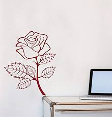 Amazon Com Vinyl Wall Decal Rose Flower Outline Decal Decor Home Vinyl Decor Stickers Murals Wd1571 Home Kitchen