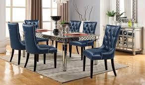 Pitman Contemporary Dining Room Set In Navy Silver Get Furniture