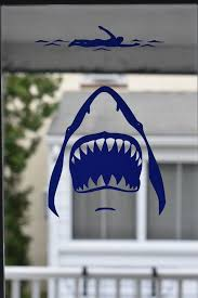 Shark Attack Decal Shark With Swimmer Decal Jaws Shark Car Etsy