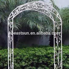 white color wrought iron garden arch