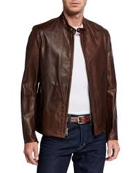 racer waxy cowhide leather jacket