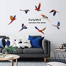 Amazon Com Wall Decoration Early Bird Wall Stickers For Bedroom Peel And Stick Wall Decals For Living Room By Adarl Home Kitchen