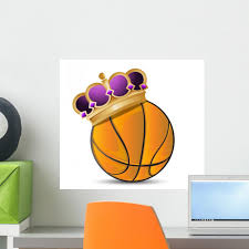 Crowned Basketball Wall Decal Wallmonkeys Com