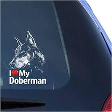 Amazon Com I Love My Doberman Clear Vinyl Decal Sticker For Window Dobermann Pinscher Sign Art Print Automotive