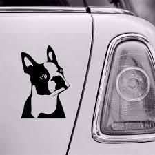 7 6cm 11 4cm Cute Boston Terrier Dog Car Window Decorative Stickers Cute Cartoon Vinyl Decal 6 Colors Wish