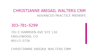 1912560236 NPI Number   CHRISTIANNE ABIGAIL WALTERS CNM   ENGLEWOOD, CO    NPI Registry   Medical Coding Library   www.HIPAASpace.com © 2020