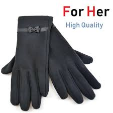 glove with bow black warm winter cozy
