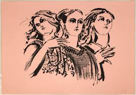 "Lester Johnson (American, 1919 - 2010) ""Three Girls"" | Cottone Auctions"