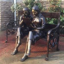 china bronze boy and girl garden statue