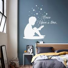 Child Quote Once Upon A Time Wall Decal For Kids Rooms Little Boy Reading Book Vinyl Stickers Books Decals Stars Boys Room A21 Buy At The Price Of 7 98 In Aliexpress Com