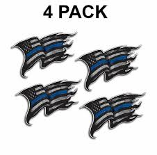 4 Pack Thin Blue Line Decal Sticker Police Officer Tattered Distr Low Priced Decals Lots Of Designs