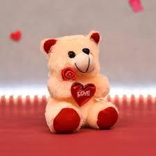 lovable soft fur mini teddy with heart