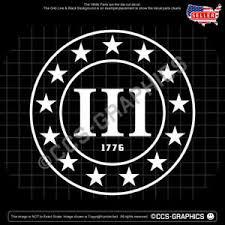 3 Percenter Decal 1776 Three Percent Patriot Trump Car Window Sticker Maga Usa Ebay
