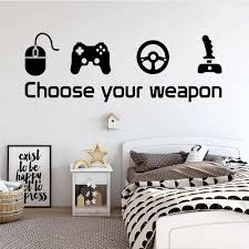 Game Wall Sticker Decal Choose Your Weapon Gamer Quote Controller Video Game Boys Bedroom Handmade Vinyl Murals B382 Wall Stickers Aliexpress