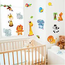 Best Sale 6a3b15 Jungle Animal Wall Stickers Children Room Home Decor Jungle Safari Vinyl Kids Room Decal Baby Room Decor Cicig Co