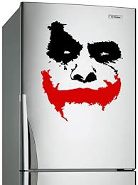 Amazon Com Slaf Ltd 24 X 20 Vinyl Wall Decal Scary Joker Face Why So Serious Movie Batman The Dark Knight Removable Decor Sticker Mural Free Random Decal Gift Home Kitchen