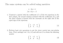 matrices systems of linear equations