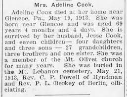 Adeline Shrock Cook obit 5/19/1913 - Newspapers.com