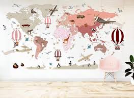 Airplane World Map Decal Clear Vinyl Decal Girls Room Etsy