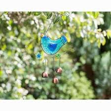 stained glass bird wind chime blue