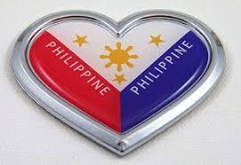 Car Chrome Decals Cbhrt166 Philippine Heart Flag Chrome Emblem Car Dec