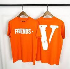 v printed orange tshirts men ager