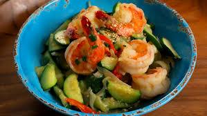 Sautéed zucchini and shrimp (Aehobak ...