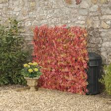 Expandable Artificial Hedge Trellis Red Acer 1 X 2m Garden Gear