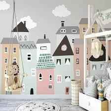 Kids Pastel Houses Wall Mural Gallery Wallrus Free Worldwide Shipping