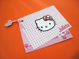 Tarjetas Invitaciones Cumpleanos Infantiles Hello Kitty Rosa