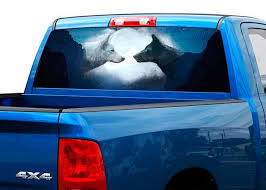 Product Wolf Black And White On The Moon Rear Window Decal Sticker Pick Up Truck Suv 2