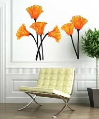 California Poppies Watercolor Wall Decal Set Floral Wall Sticker Watercolor Walls Poppy Wall Art