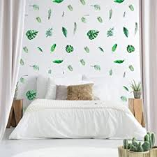 Amazon Com Outgeek Tropical Stickers Palm Leaf Wall Decals 126 Pcs Tropical Plants Tree Leaves Removable Waterproof For Kids Nursery Room Home Decor Bedroom Living Room Decorations Baby