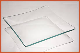 square clear glass plate box of 50 plates