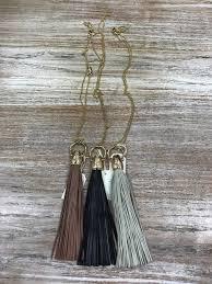 jewelry leather tassel necklace glitz