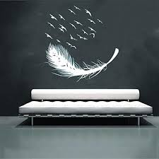 Amazon Com 3d Wall Stickers Tptpt Diy Multicolor Bird Feather Removable Wall Decal Family Home Sticker Mural Art Home Decor White Home Kitchen