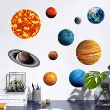 Planets Diy Cosmic Nine Planets Wall Stickers Solar System Star Luminous Stickers Large Fluorescent Wall Decal Home Decor Wall Stickers Aliexpress